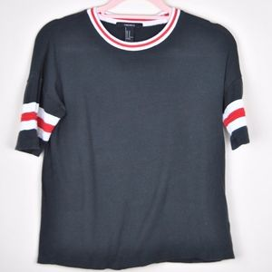 Forever 21 New York 76 Black Red Stripe Crop Top M